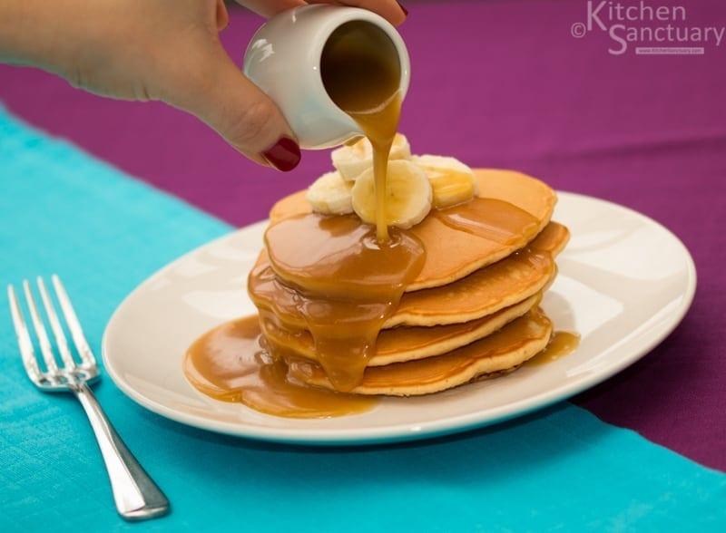 Sourdough Banana Pancakes With Salted Caramel Sauce Non