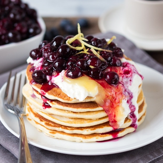 Blueberry Lemon Cheesecake Pancakes - Nicky's Kitchen ...