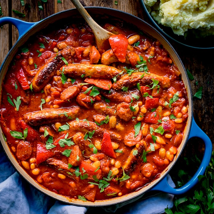 Big Batch Sausage and Bean One Pot - Nicky's Kitchen Sanctuary