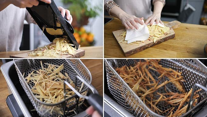Collage of four images showing the making of shoestring fries. 1: slicing potatoes on a mandolin, 2: drying fries with kitchen roll, 3: fries going into fryer, 4: cooked fries being lifted out of fryer.