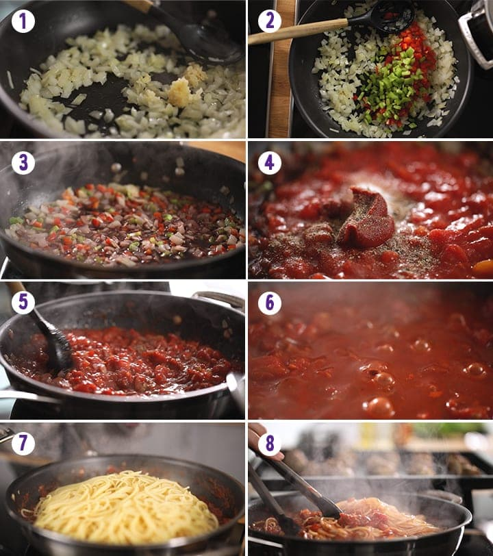 8 image collage showing how to make spaghetti and meatballs