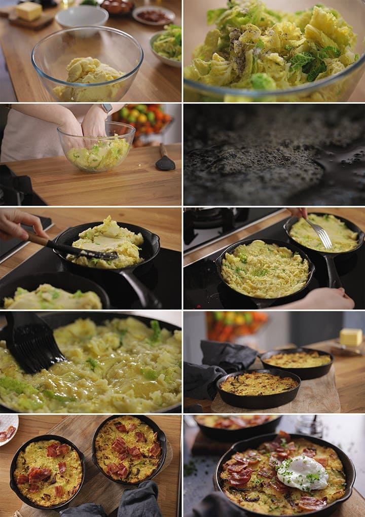 10 image collage showing how to make bubble and squeak