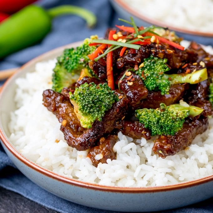 This Crispy Chilli Beef with Broccoli is our go-to Chinese stir fry! Most requested by the family, it's way tastier and quicker than takeout! Easily made gluten free.
