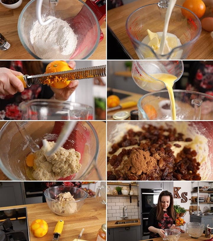 Initial process steps for making hot cross buns in a collage