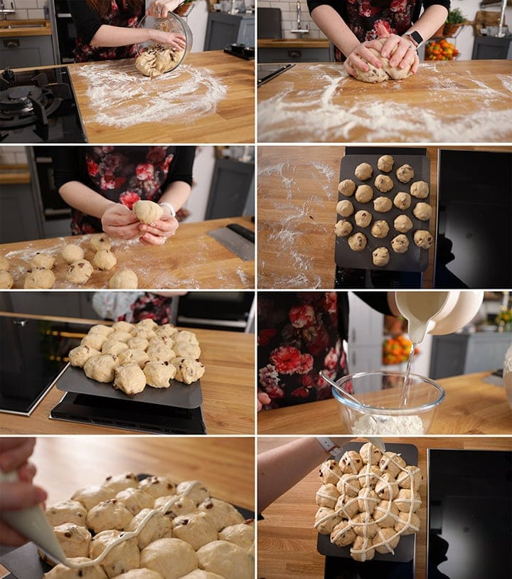 Final process steps for making hot cross buns - including shaping the buns.