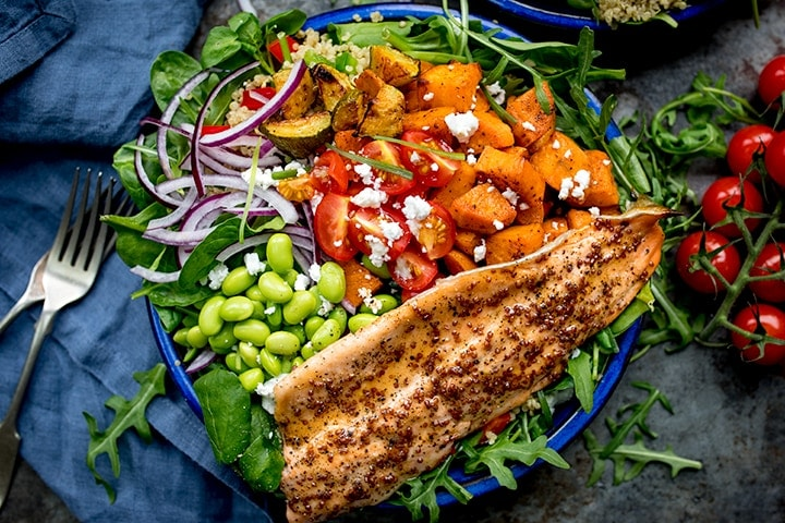 Honey Mustard Trout with Quinoa, Roasted Vegetables and Feta