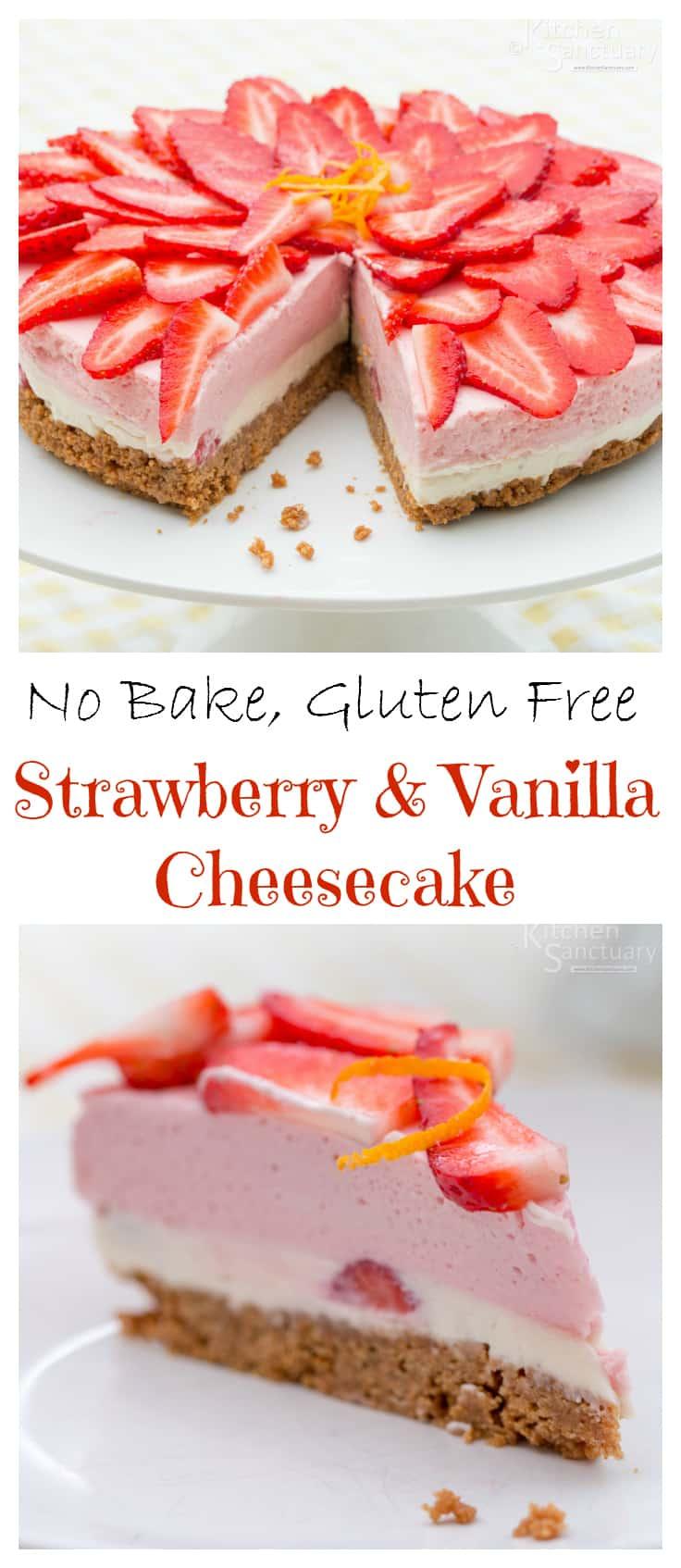 Strawberry and Vanilla Cheesecake - a delicious no-bake, gluten free dessert!