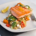 Trout, Quinoa, roasted Veg and feta