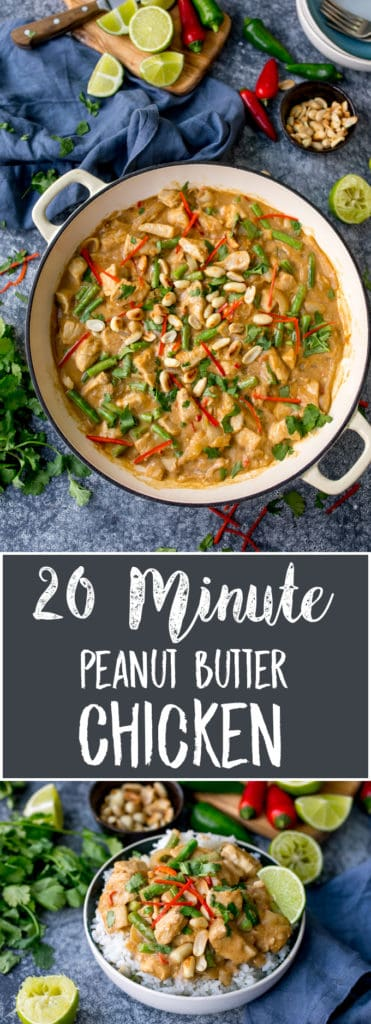 Large pan peanut butter chicken curry with green beans, chillies and coriander (cilantro)