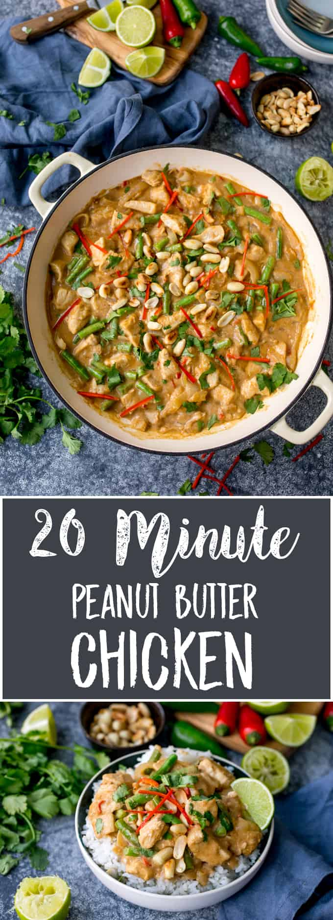 My Peanut Butter Chicken is packed full of flavour and ready in 20 minutes! A great mid-week meal, with no fussy ingredients! #peanutbutterchicken #peanutchicken #thaichicken #peanutbutter #quickdinner #glutenfreedinner