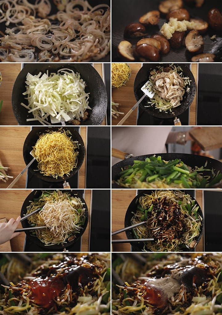 10 image collage showing how to make mee goreng (asian noodles)