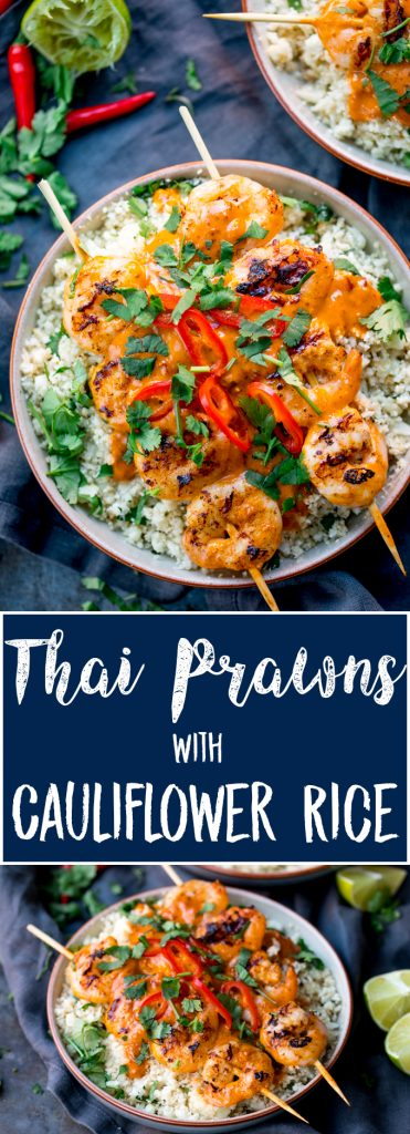 Thai Prawns With Cauliflower Rice is a super delicious lighter meal, packed with flavour, ready on the table in under 20 minutes AND under 300 cals. #lowcaldinner #52diet #lowcaloriemeal #thaiprawns #cauliflowerrice