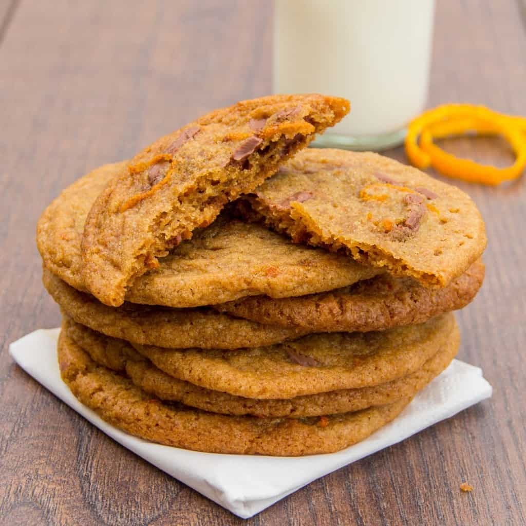 Chocolate Orange Chewy Cookies on a wooden board