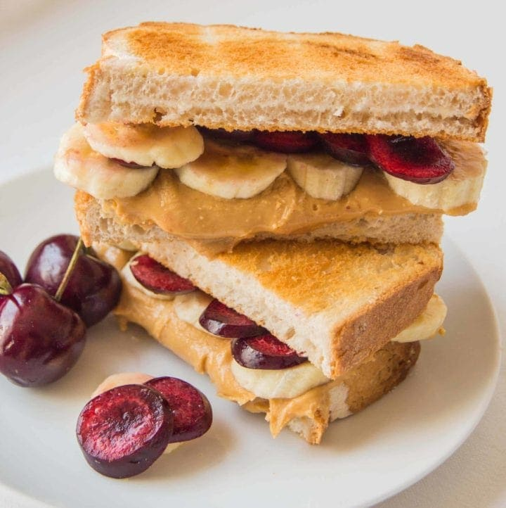 Peanut Butter, cherry and banana toastie - day two of my five day 'Sweet Toasties' series to brighten up your holiday breakfast.