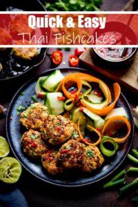 Thai fishcakes on a black plate