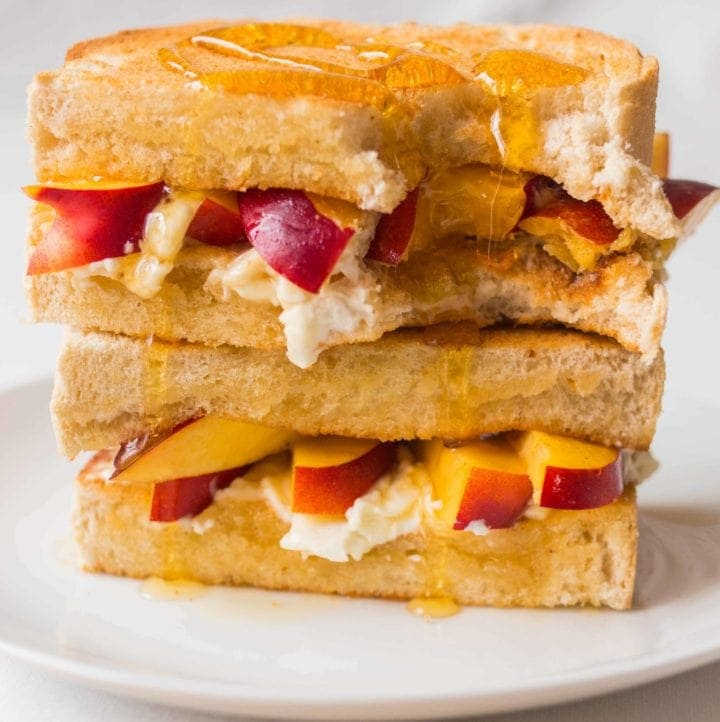 Cream cheese, nectarine and honey toastie - day one of my five day 'Sweet Toasties' series to brighten up your holiday breakfast.