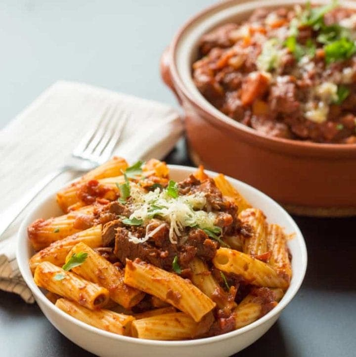 Slow Cooked Beef Ragu with Rigatoni - Fall-apart beef in a delicious tomato and vegetable sauce. So simple and tasty!