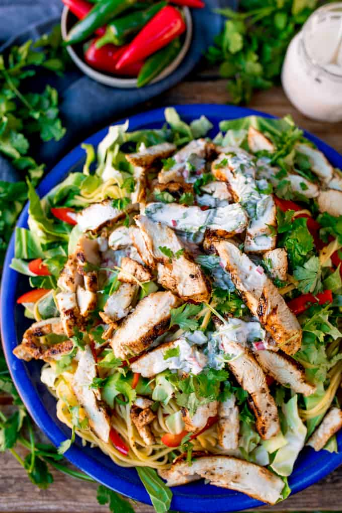 This Cajun Chicken Noodle Salad with Creamy Chilli Lime Dressing is a colourful any-season salad to set your taste buds tingling. Awesome Chicken Salad with a Kick! #Cajunchicken #noodlesalad #glutenfreesalad #glutenfreedinner #creamydressing