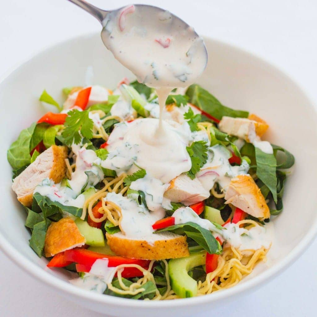 Chicken Noodle Salad with Creamy Chilli Lime Dressing - A colourful summer salad to set your taste buds tingling