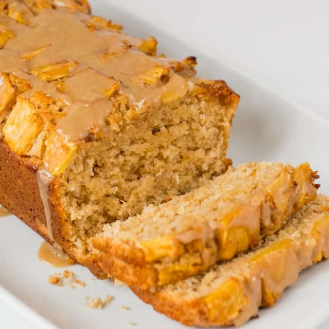 Coconut Pineapple Bread - Soft, tender coconut cake with caramelized pineapple and a brown sugar glaze.