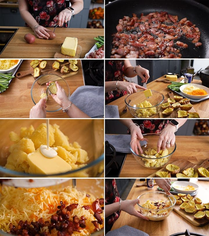 8 image collage showing how to make bacon and cheese potato skins