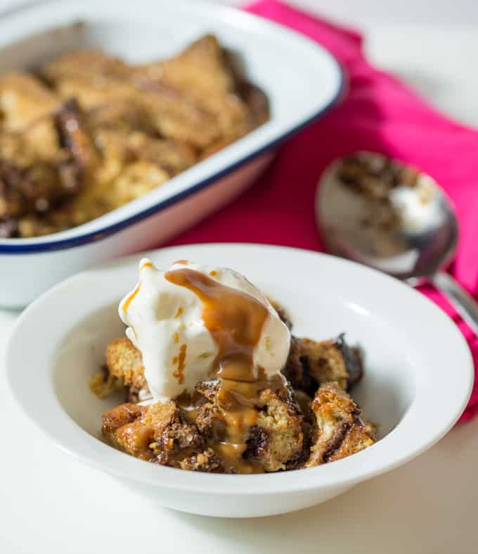 Caramel and Nutella Bread Pudding - A sweet, sticky and indulgent bowl of happiness