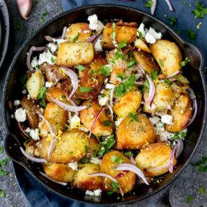 This Greek Potato Hash works as a great side dish for BBQs - or eat it on it's own - totally satisfying!