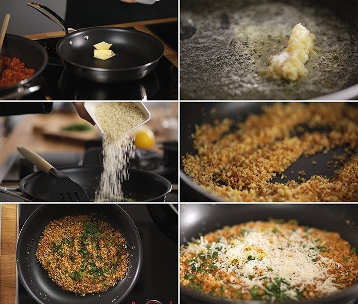 6 image collage showing how to make crisp garlic crumbs