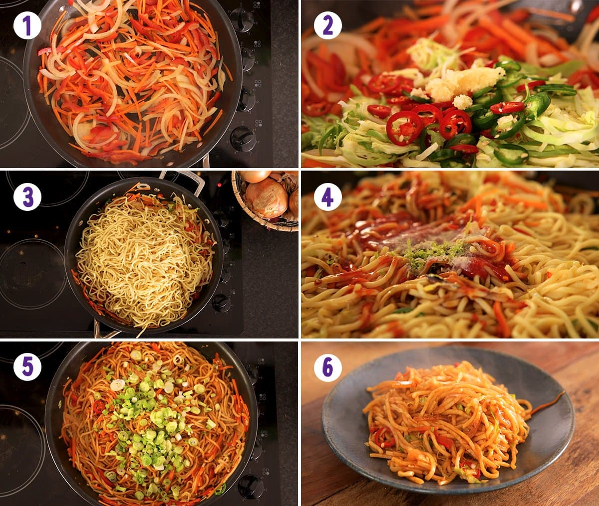 6 image collage showing how to make chilli lime noodles.