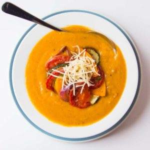 Ratatouille Soup - A luscious, creamy, healthy soup - great for using up the leftover bits of veg from your ratatouille.