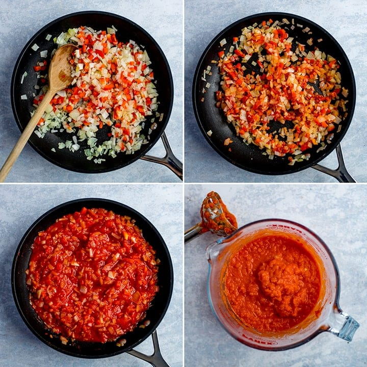 four image collage showing the making of tomato and red pepper sauce