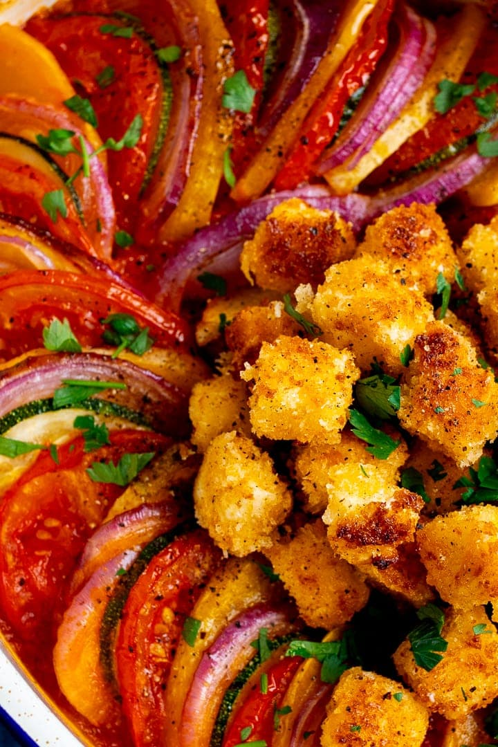 Close up of ratatouille with crispy feta croutons