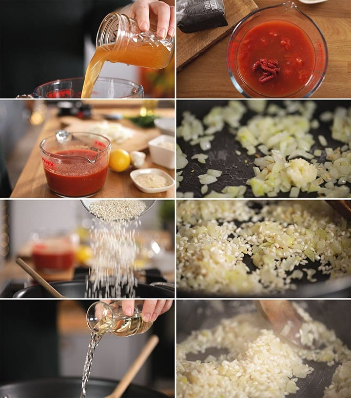 8 image collage showing initial steps to make tomato risotto