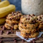 Square image of banana oat chocolate chips cookies