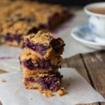 Blueberry Crumble Slice. The biscuit base is actually just a compressed version of the crumble topping - super easy!