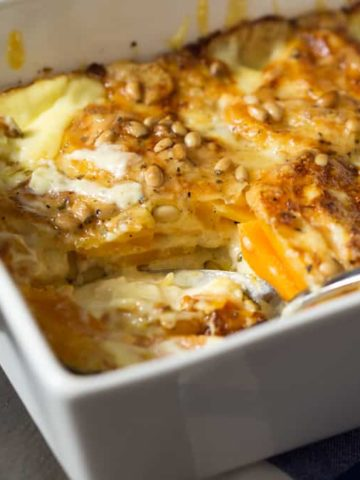 Butternut gratin - Butternut squash layered with cheese, cream, pine nuts and a little sage