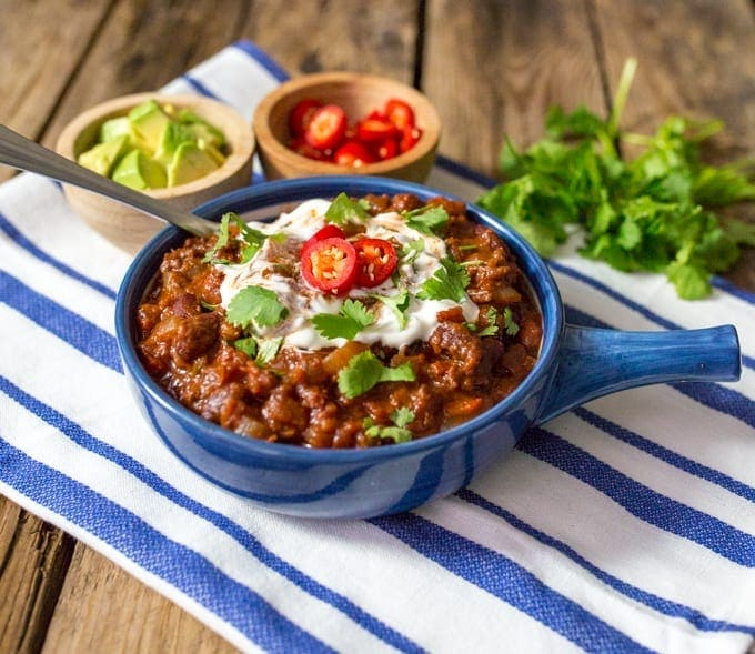 Chilli con carne - a classic dish with extra veg to warm you from the inside.