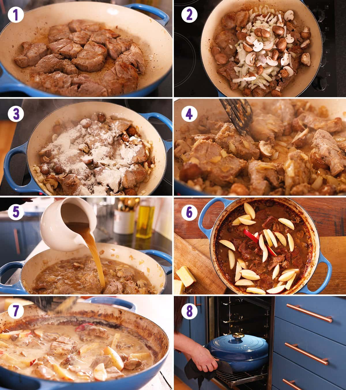 8 image collage showing how to make creamy pork and apple casserole
