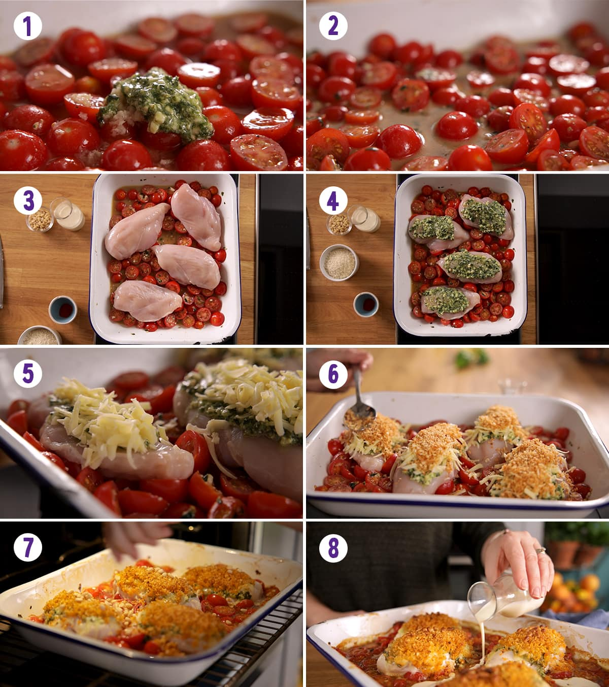 8 image collage showing how to make baked pesto chicken