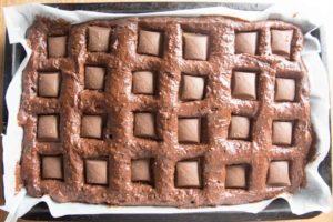Gooey Chocolate Caramel Brownies - rich, moist chocolate brownie. Crisp on top with a gooey caramel centre.
