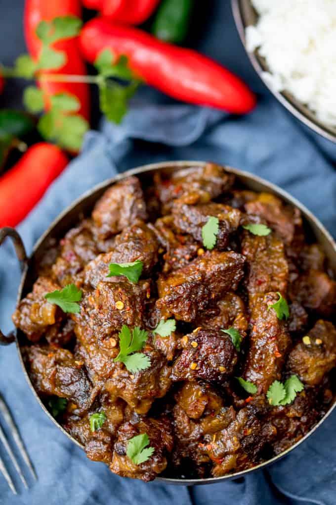 Overhead photo of Beef Rendang