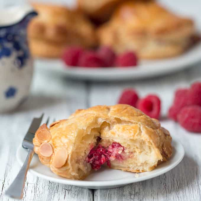 Raspberry and Almond Pithiviers - Golden flaky pastry filled with frangipane and raspberries.