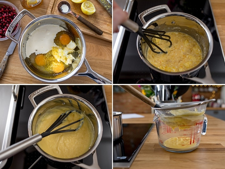 collage of steps for making lemon cream sauce for pancakes