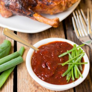 Plum Sriracha sauce - A sticky, spicy dipping sauce or marinade, perfect with duck or wontons.