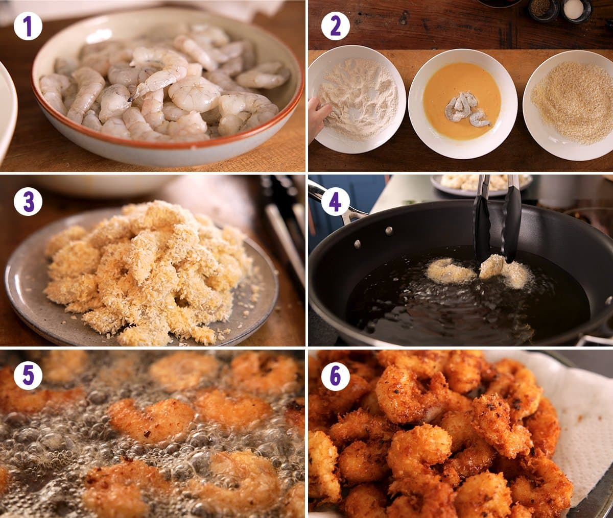 6 image collage showing how to make coconut shrimp
