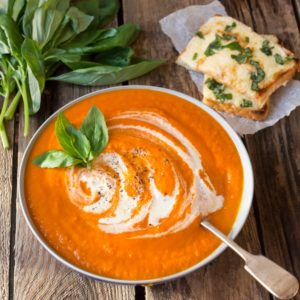 Creamy Tomato Soup with Basil cheese on toast - the added hidden veg means it's extra healthy whilst still tasting indulgent!