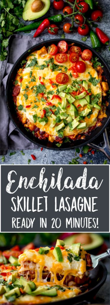 Overhead photo of chicken enchilada lasagna in a pan, topped with avocado, tomatoes and chopped chillies. Second bottom photo of slice being lifted out of pan.