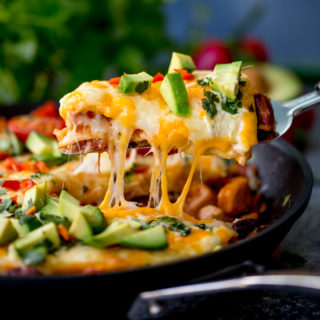 Enchilada Skillet Lasagne with Chicken and Chorizo