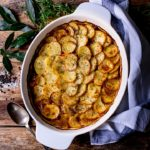 Lancashire hotpot on wooden background