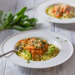 Salmon in a creamy red pepper and tomato sauce with a mix of regular and courgette spaghetti - Ready in 20 mins.